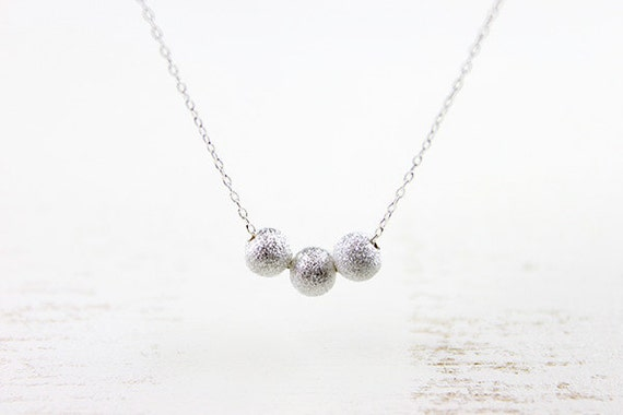 Stardust Beads Necklace - round sterling silver star dust dots, delicate everyday jewelry by petitor