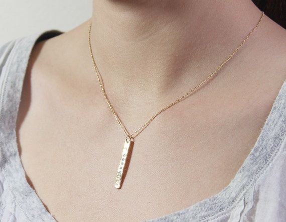 Gold Hammered Bar Necklace - 14k gold fill skinny golden bar with crystal accent