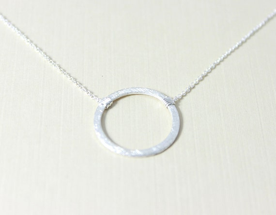 Eternity Circle Sterling Silver Necklace - minimalist eternity karma pendant