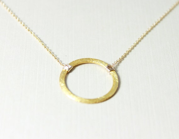 Eternity Circle Necklace - minimalist gold circle necklace, simple everyday jewelry by petitor