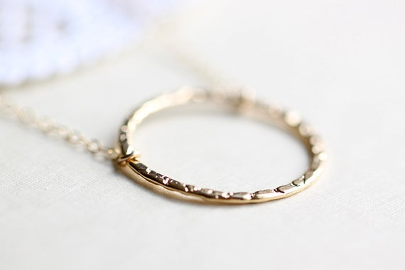 Circle Necklace - gold O ring necklace, simple round pendant for everyday jewelry