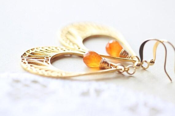 Gold Orange Chandelier - citrus carnelian gemstone and teardrop vermeil gold chandelier on 14k gold fill