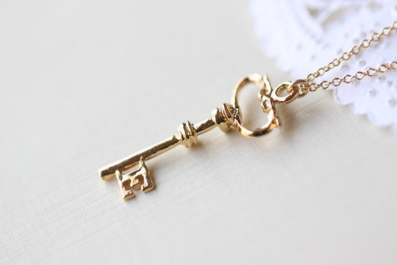 Gold Key Necklace - victorian skeleton vermeil key pendant with letter E on 14k gold filled chain jewelry by petitor