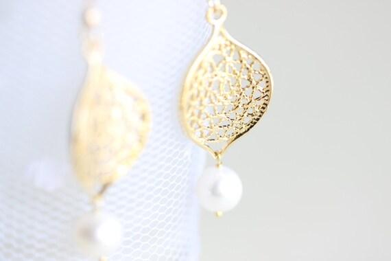 Gold Leaf Pearl Earrings - vermeil filigree leaf and freshwater white pearl