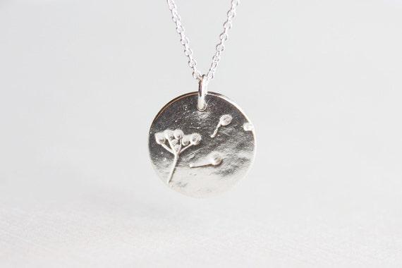 Dandelion Wish Necklace - solid sterling silver dandelion disc circle charm
