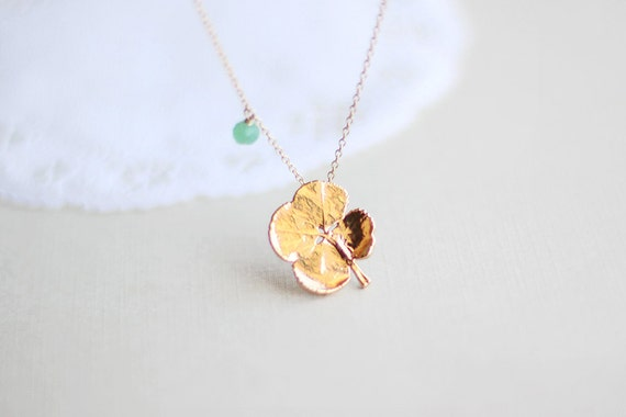 Lucky Gold Clover Necklace - surreal gold clover with green chrysoprase accent 14k gold fill jewelry