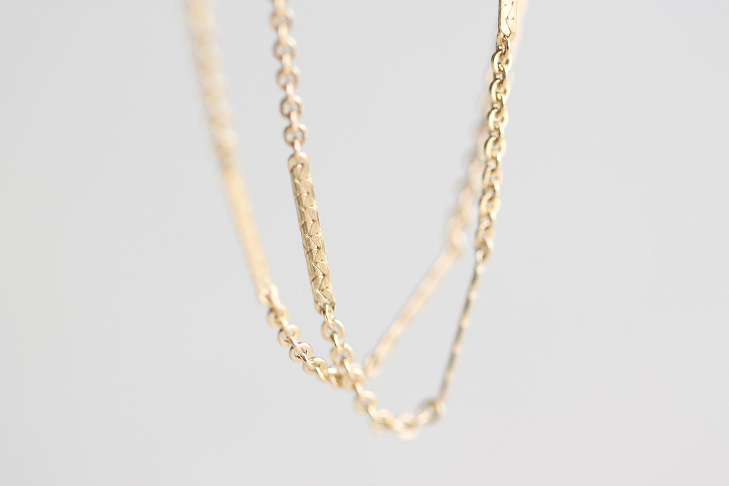 Shimmering Gold Bar Chain Thin Simple 14k Gold Fill