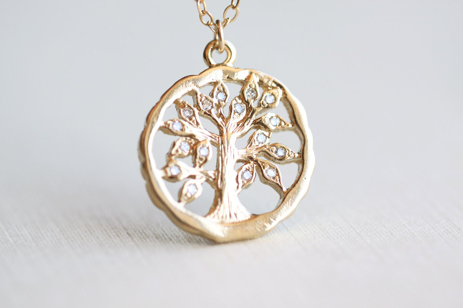 family tree necklace gold oak tree pendant with
