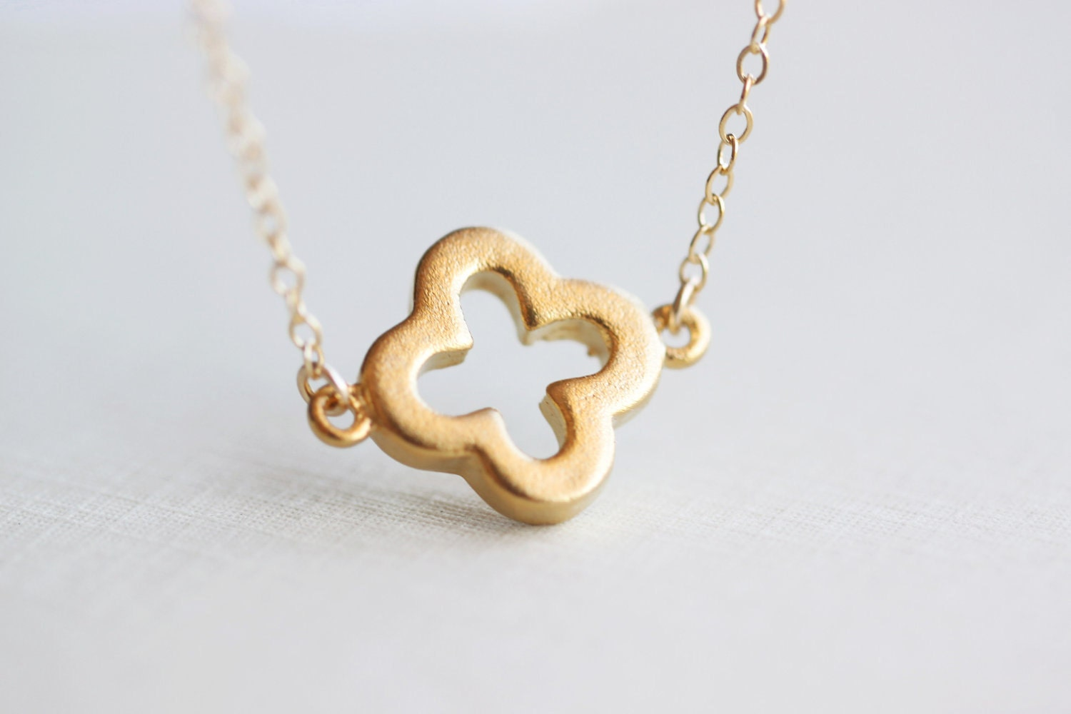 Gold Clover Necklace Four Leaf Clover Floating On 14k Gold