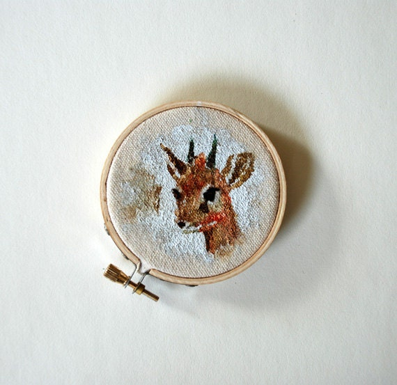 Dik-Dik Portrait Painting on Embroidery Hoop Art - ORIGINAL