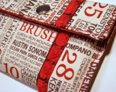 Card wallet / gift card holder in cream, gray and red city name print with chenille ribbon trim