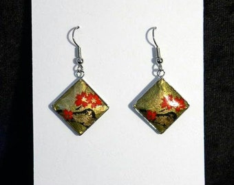 Japanese style earrings ---  Red Cherry blossom