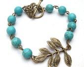 Antiqued Brass Leaf Turquoise Bracelet