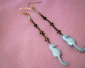 Nessy's Lagoon: inverted cross and seahorse earrings