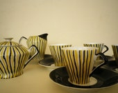 Retro Porcelain Coffe Set Antique Art Deco Fine Tableware 12 pcs