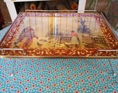 Paris Printed Folding Tray Vintage Serving Collapsible Metal Stand