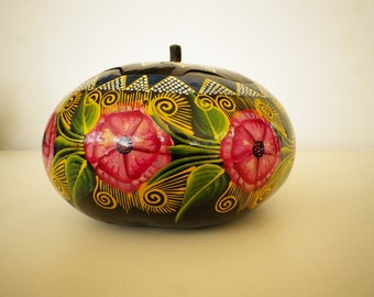 Handmade Pumkin Box Vintage Decorative Floral Painted Basket