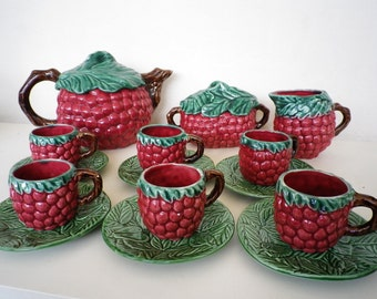 Retro Ceramic Coffe Set Vintage Collectible Tableware Fruit Tea Party 15pcs