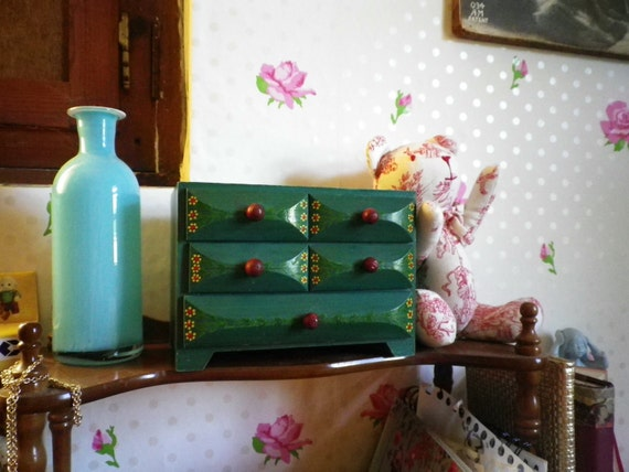 Wooden Drawers Case Vintage Small  Furniture Handpainted Box