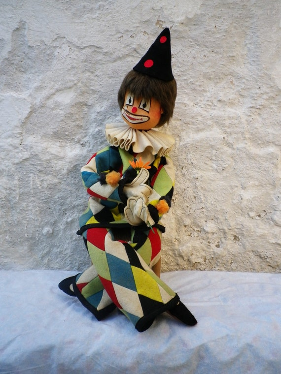 RESERVED NIEVES       Harlequin Doll Vintage Articulated Colorful Clown