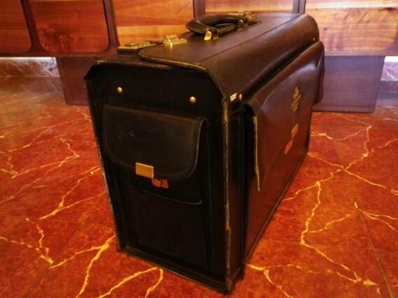 Leather Suitcase Vintage British American Tobacco Luggage Collectors Industrial Bag