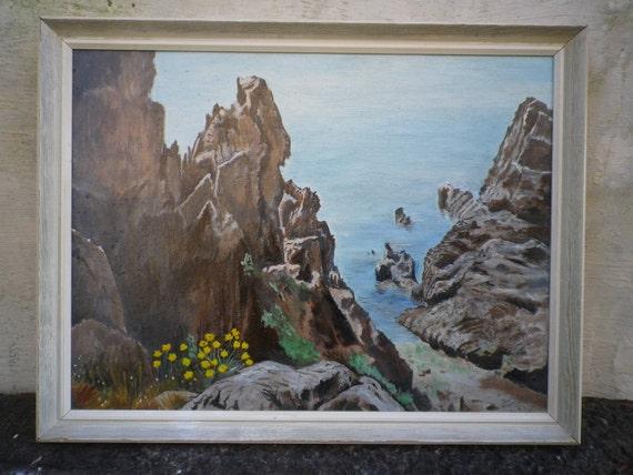 Original Oil Painting Art Vintage Signed Sea Scene