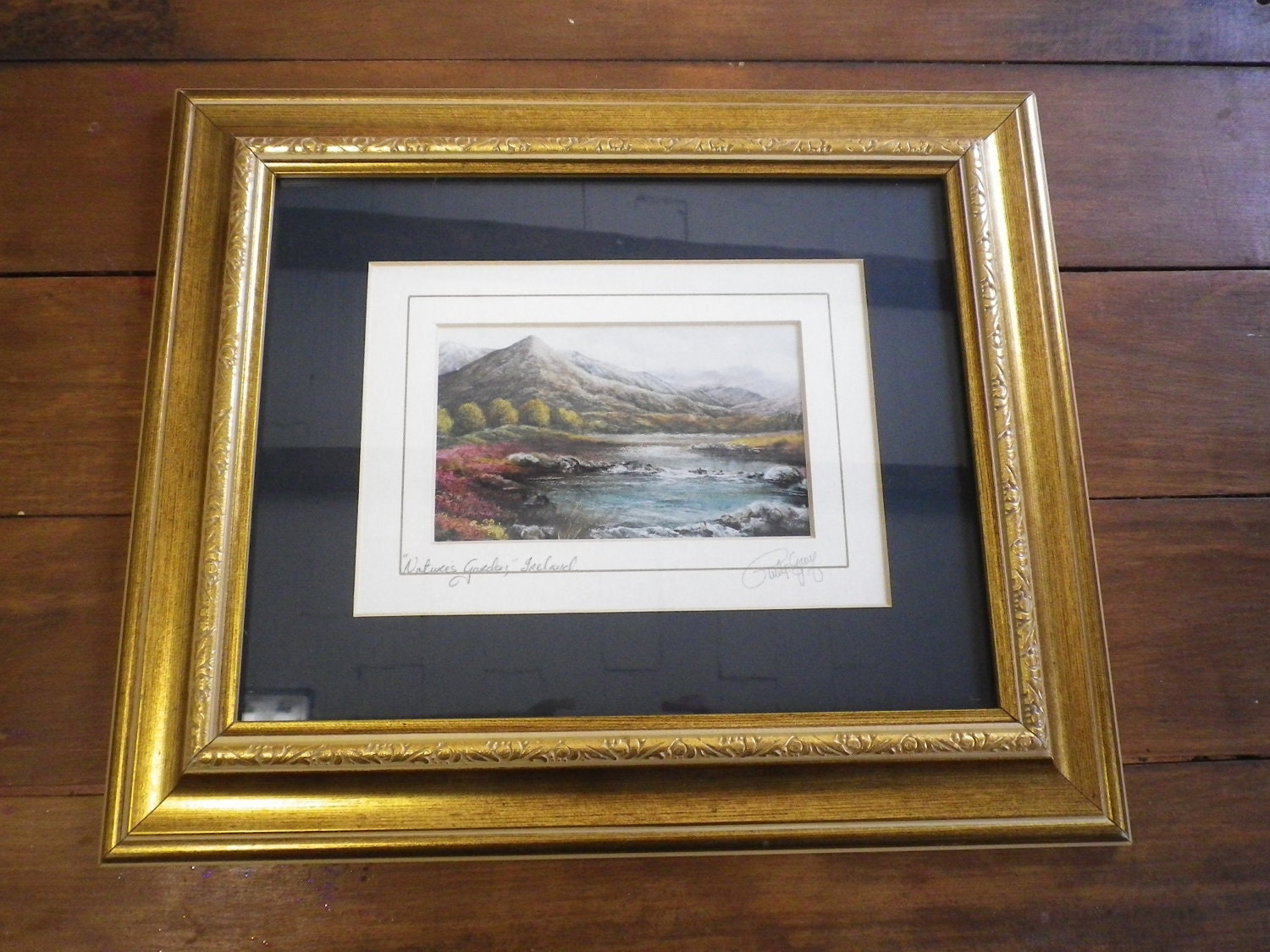 Art Signed Print Philip Gray Vintage Landscape Wooden Framed