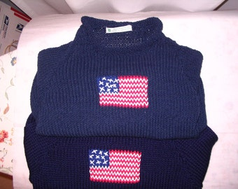 Toddler 18 mos, 2T, 3T  Hand-knit Cotton American Flag Symbol Sweater