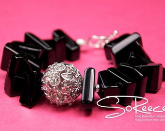 Black, Silver, white, Pave crystal beaded bracelet with toggle clasp - The Glamorous Life