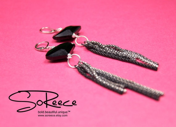 Black, Gray, Silver, Gunmetal dangle earrings / Shoulder sweepers