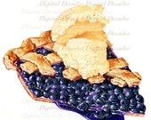Blueberry Pie A la Mode Ice Cream Desert Fruit - Digital Image - 1950s Vintage Art Illustration - DigitaIDecades
