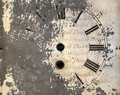 Old Clock Face -  Time Shabby Rustic Distressed Grunge Paint Peeling - Digital Photo Image