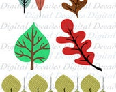 Leaves Leaf Collection Fall Spring Red Green Tree Plant Forest Park - 6 Digital Vintage Art Illustrations Retro Designs
