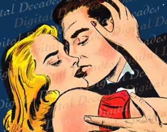 Red Hot Romance Passion Couple Love Amour Kiss Under the Stars at Night - Digital Image - Vintage Art Illustration - Instant Download