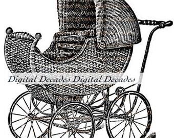 Vintage Victorian Baby Carriage Art Illustration  -  Infant Nursery Wicker  - Digital Image