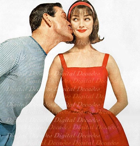 Kiss Your Wife 1950s Vintage Art Illustration - Man Woman Husband Married Love - Digital Image