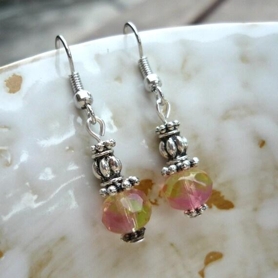 Pink Lemonade Czech Glass Beads Earrings