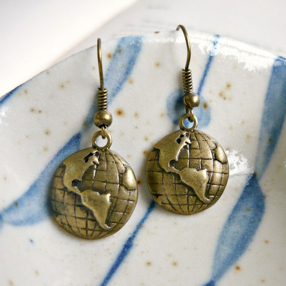 World Globe Map TravelCharms Earrings in antique bronze