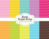 Digital Scrapbook Paper Clip Art Chevron Patterns zig zag bright colors