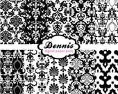 Digital Scrapbook Paper Clip Art Damask Black & White Pack
