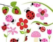 Lady Bug Clipart Set Bug Flower Leaf Branch Mushroom Clip Art Graphics