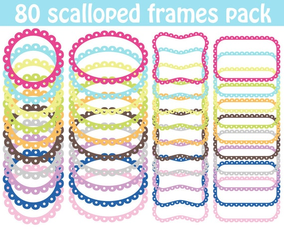 80 Scalloped Frames Clipart Soft Colors Scrapbook Circle Frame Tag Label