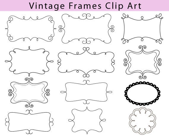 Vintage Frame Clipart 12 Digital Classic Labels Frames and Tags Calligraphy Decorative Elements