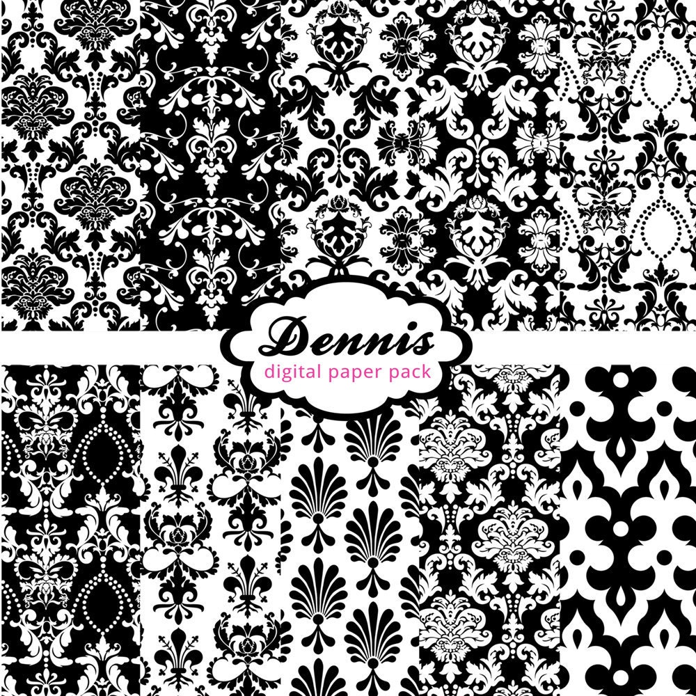 Damask Black White Digital Paper Pack by DennisGraphicDesign