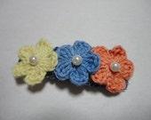Crochet Three flowers Hair Clip 2