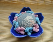Japanese Cloth Chirimen Earthenware Pincushion 3