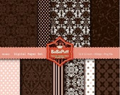 Instant Downloads, 10 Chocolate Digital Papers, Wedding Card Making, Scrapbooking, Gift Wrapping. Personal and Small Commercial Use. BP 0052