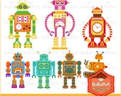 Instant Downloads, Digital Robots Clip Art, For Your Handmade Crafts Projects. Personal and Small Commercial Use. BP 0141
