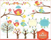 Digital Cute Bird & Tree Branch Clip Art. Personal and Small Commercial Use. BP 0235
