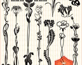 Japanese Floral Clip Art, Black Flourish Graphics, For Invitations, Scrapbooking, Cards Making, Personal and Small Commercial Use. BP 0356